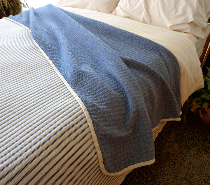 Indigo Blue Organic Cotton Matelasse Reversible Stripe Blanket
