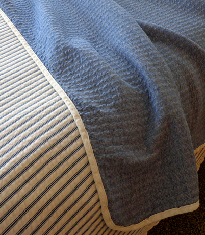 Nautical Blue Denim Stripe Stadium Blanket