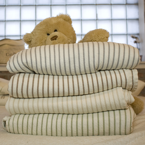 Ticking Stripe Organic Cotton Reversible Matelasse Blanket